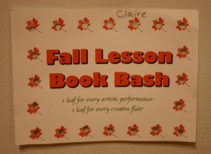 Claire was the first to complete her Fall Book Bash Card!