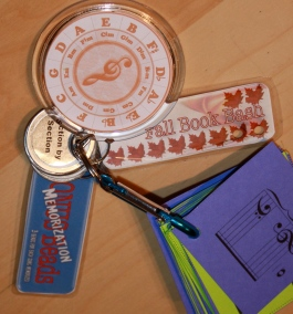 Our piano lesson key chains include the Memorization card.