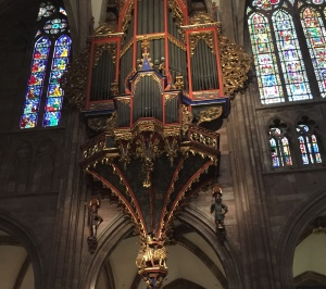 The great organ at Strasbourg Cathedral in France.